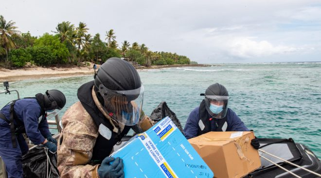 HMNZS Wellington Delivering Pfizer Vaccines to South Pacific Islands