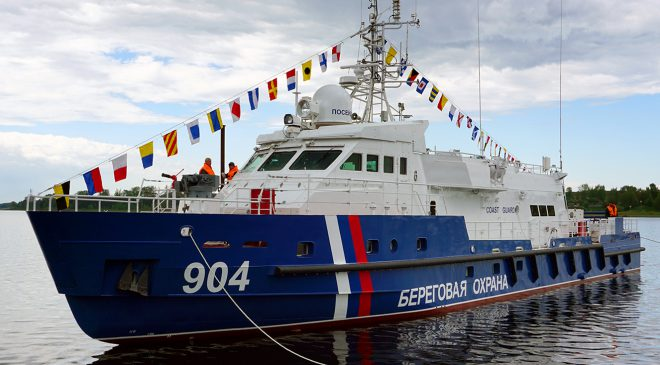 A patrol boat was launched on Vympel on Border Guard Day